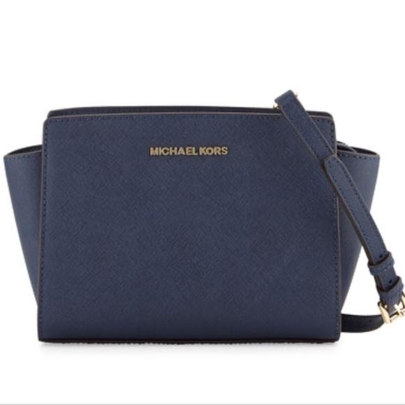 Michael Kors Handbags - Michael kors medium navy blue messenger
